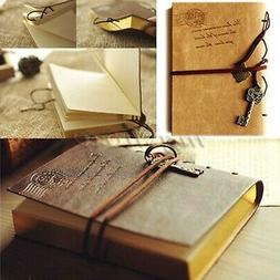 1 Piece A6 PU Leather Retro Vintage Bound Blank Pages Journa