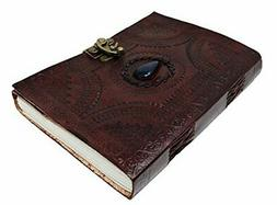 """10"""" Leather Journal with clasp & stone Writing Pad Blank Not"""