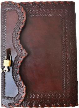"""10"""" Leather Journal with lock Writing Pad Blank Notebook Han"""