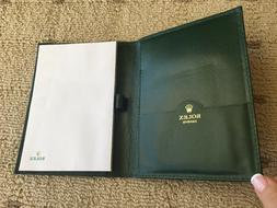 ROLEX 3 AUTH ITEMS, GREEN LEA JOURNAL W/PAPER, NOTEPAD, CARD