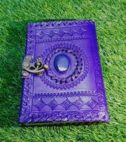 7 x 5size Handmade Leather Journal Diary lock and stone