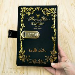 A5 Leather Lined Journal Diary with Lock for Adult Vintage C