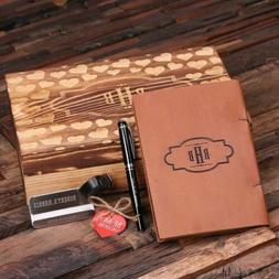 Bespoke Valentines Day Gift Set w/ Leather Journal, Luggage