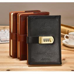 Black Faux Leather Lined Writing Journal with Password Lock