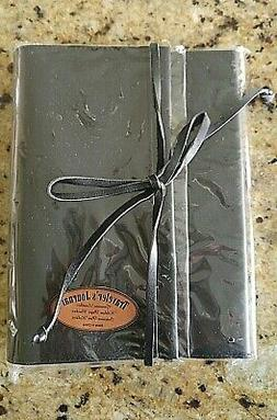Black Genuine Leather Lined Journal Notebook w/Tie and Pen H