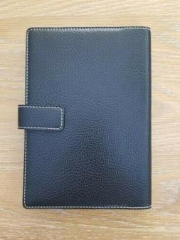 Black Italian Leather Journal button clasp 6x8.5, Lined Page