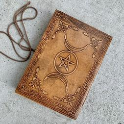 Brown Leather Journal Celestial Sun Triple moon phases Diary