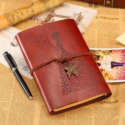 Classic Retro Vintage Leather Bound Blank Page Notebook Jour