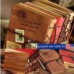 Classic Retro Vintage Leather Bound Blank Pages Notebook Not
