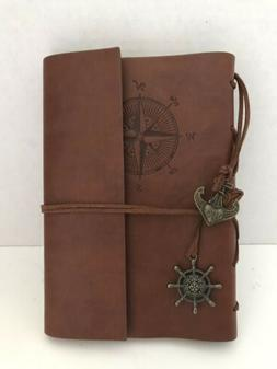 MaleDen Compass Leather Journal with Refillable Unlined Page