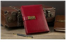 Diary Vintage Leather Notebook with Lock Retro Planner Agend