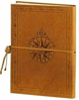 Windrose Embossed Caramel Italian Leather Journal With Bead