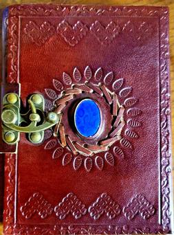 Embossed Leather 100 Pages Unlined leather Journal with Clas