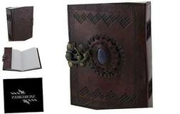 Embossed Leather Blue Stone 120 Page Unlined Journal with Cl