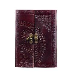 Embossed Leather Journal With Clasp, 125 Unlined Recycled Pa