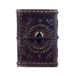 Embossed Stitched Stoned Leather Journal, 125 Unlined Recycl