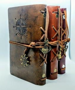 Nautical Theme Travel Journal Faux Leather Refillable Notebo