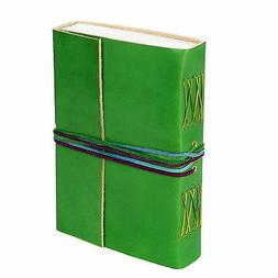 Fair Trade Handmade Leather 3-string Green Leather Journal -