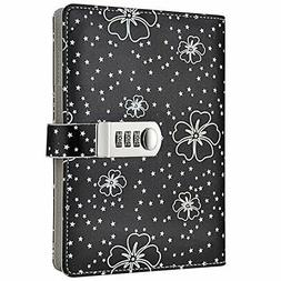 Floral Password Notebook Lock Journal Combination Diary Stud