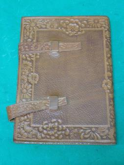 Floral Scalloped Design Italian Leather Lined Journal with T