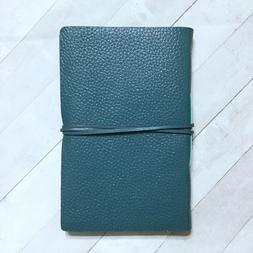 Anthropologie Freya Leather Journal Notebook 8x5 Teal Blue