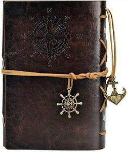 GENUINE ~ COFFEE BROWN ~ NAUTICAL LEATHER TRAVEL JOURNAL~ LE