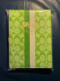 Coach Green White Leather Stripe Office Notebook Pad Journal
