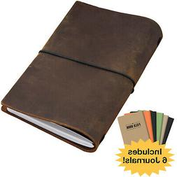 Handcrafted Top Grain Leather Journal Notebook Cover with 5