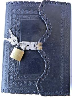 Handmade Leather Black color Journal Notebook Diary with Loc