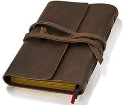 Handmade Leather Lined Journal - Genuine Leather Notebook &