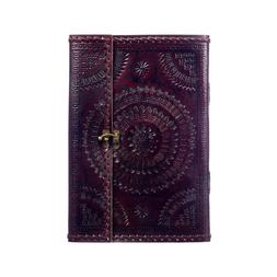 Indra Fair Trade A4 Embossed Stitched Leather Journal Sketch