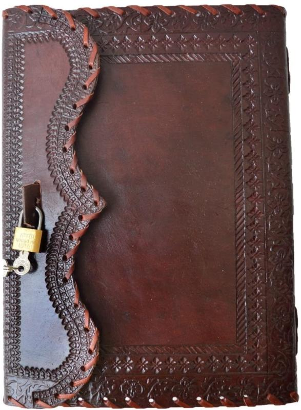 10 leather journal with lock writing pad