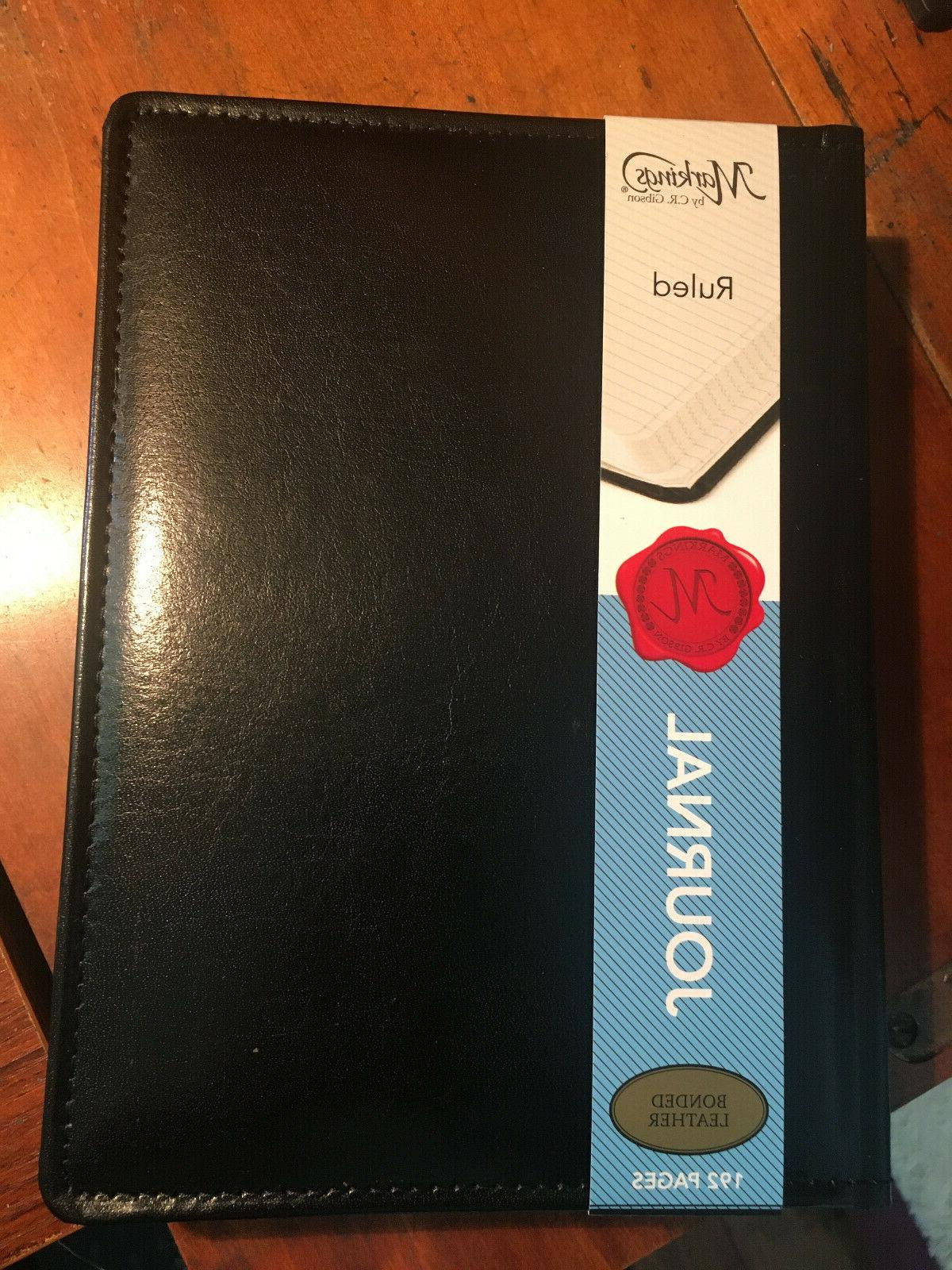 192 pg Bonded Leather Journal 9x6.5 Markings CR GIBSON Ruled