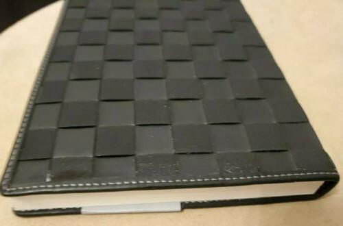PAPYRUS Black Leather Basket Weave Geometric 112 Lined -