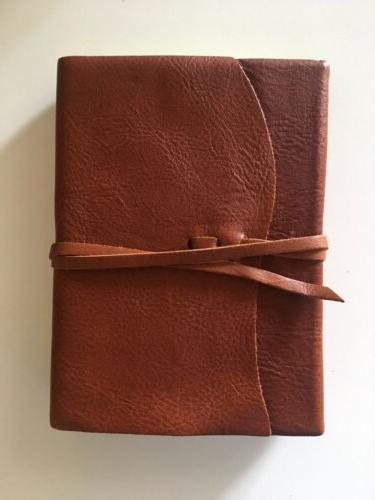 brown full grain leather journal notebook w