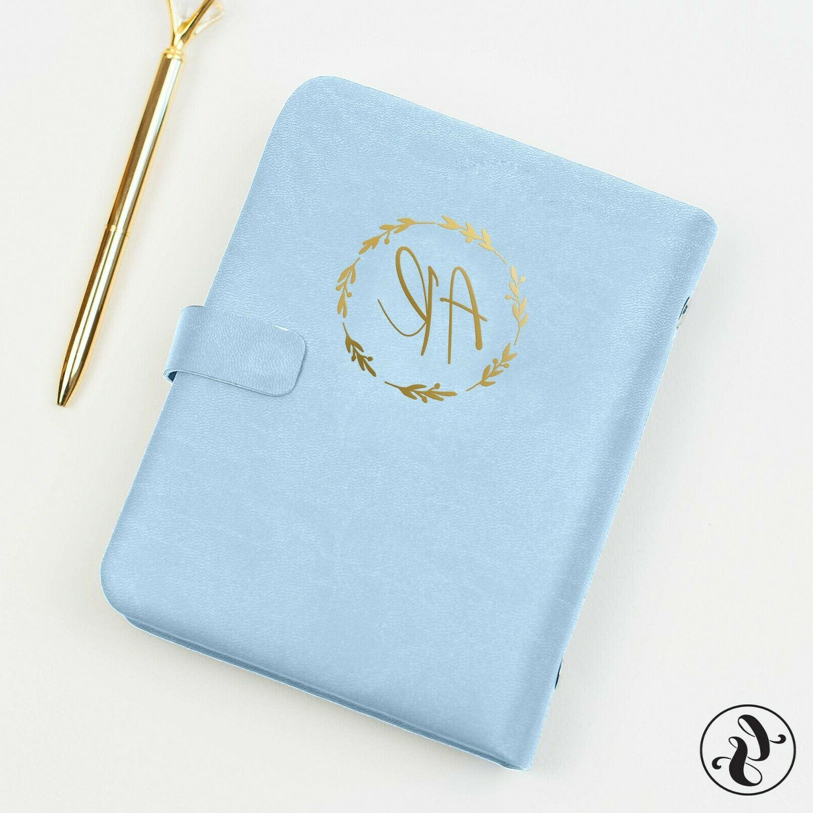 leather journal with initials monogram planner undated