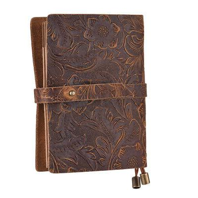 classic vintage leather lined blank pages journal