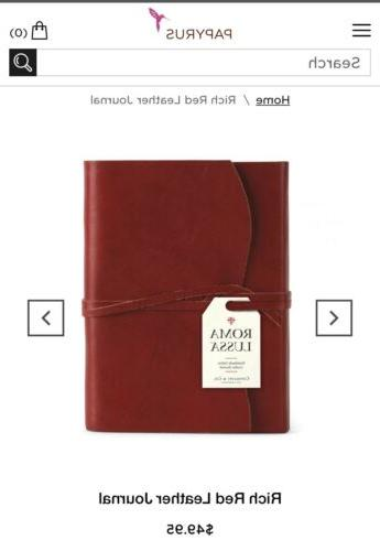 co small leather journal rich red