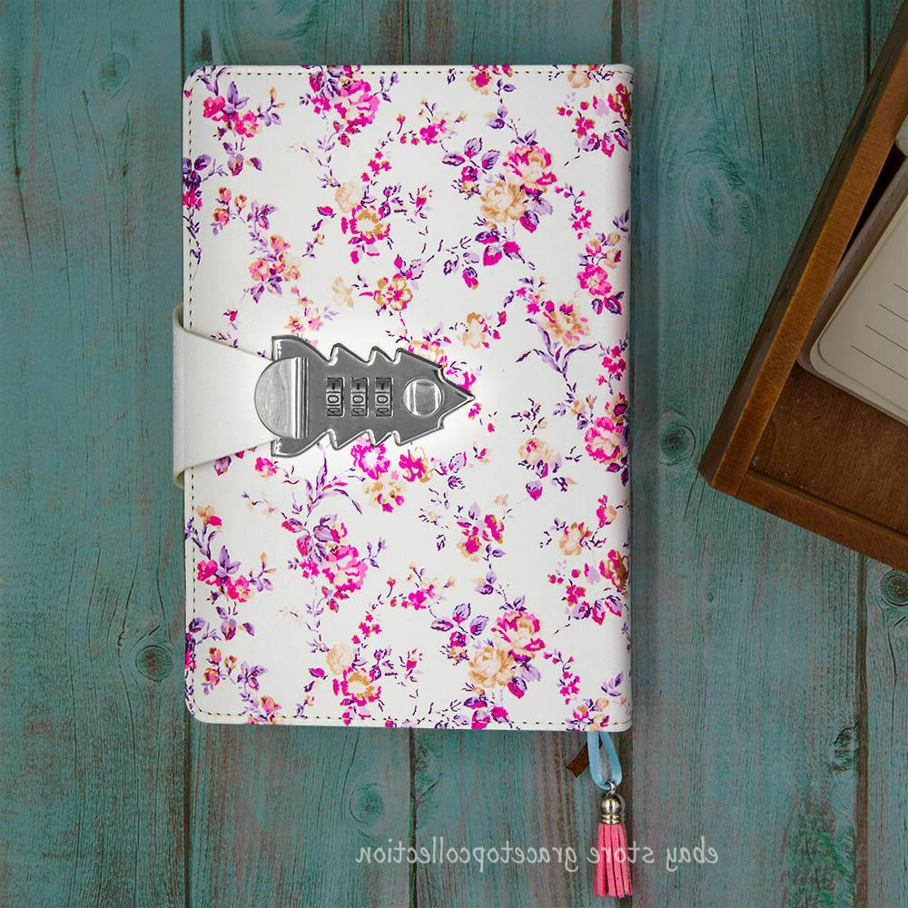 girls flower leather journal dairy with password