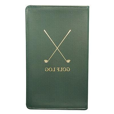 golf log book portable green leather bound