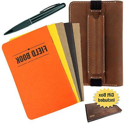 handcrafted stitched leather journal notebook cover set