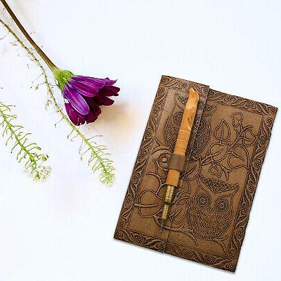 Home Handcrafted Embossed Leather Journal Wooden Gift Dad