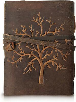 leather journal tree of life writing notebook