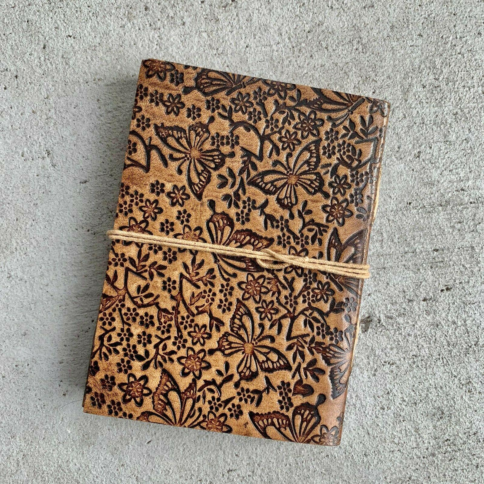 leather junk journal butterfly nature scrapbook travelers