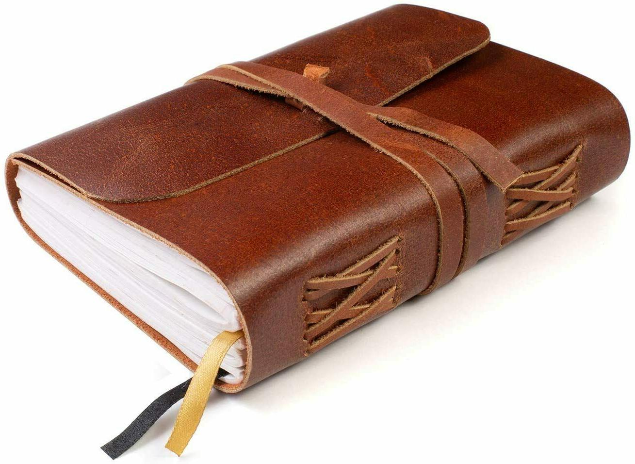 lined leather bound journal for women