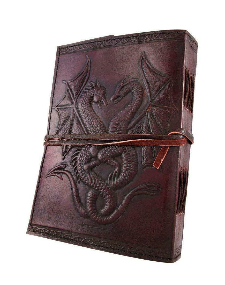 medieval renaissance twin dragons leather journal diary