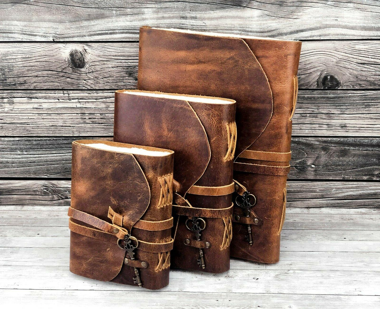 Personalized Leather Journal Handmade Deckle Paper Leather Bound Notebook