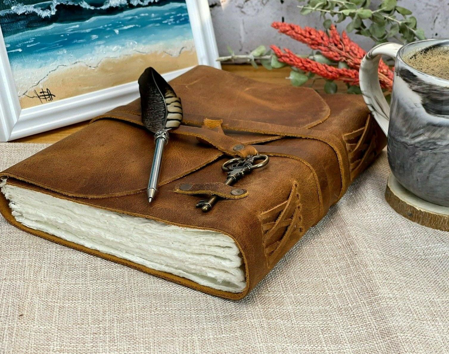 personalized leather journal handmade deckle edge paper