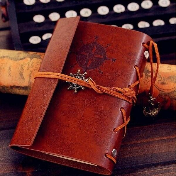 vintage classic retro leather journal travel notepad