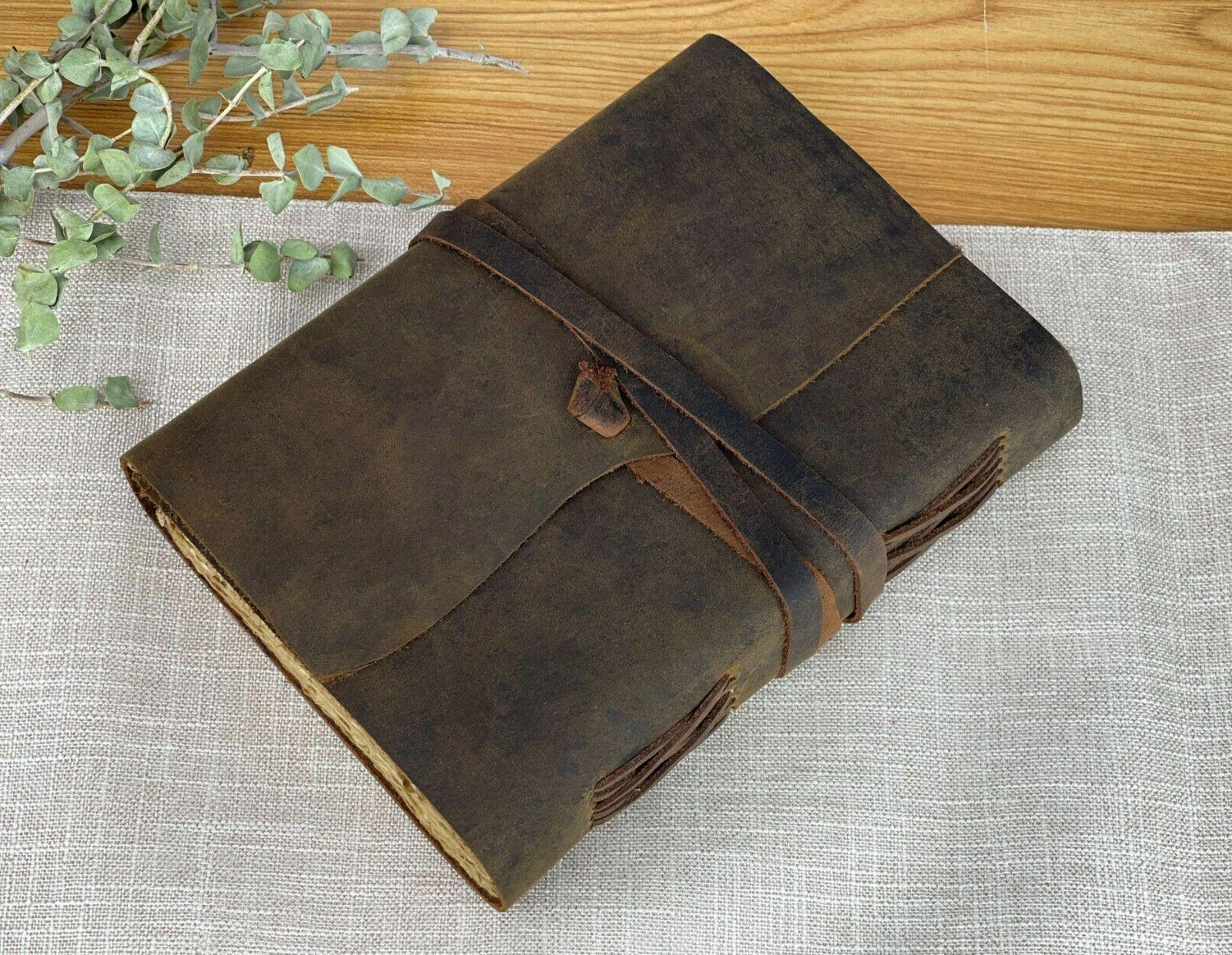 vintage genuine leather journal deckle edge paper